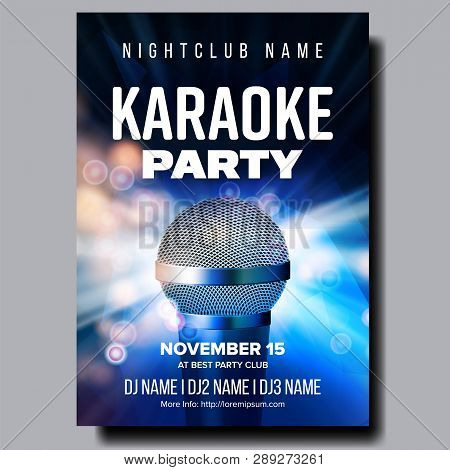 Karaoke Poster Vector. Colorful Instrument. Technology Symbol. Karaoke Party Flyer. Music Night. Rad