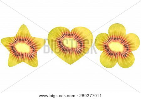 Star, Heart, And Flower Shaped Red Kiwi On White Background