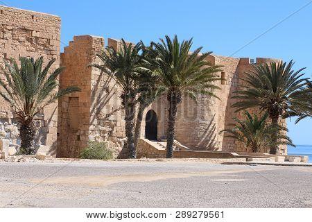 Djerba Island. Tunisia. Northern Africa - 06.08.2017: Medieval Fortress Bordj El Kebir (fort Ghazi M