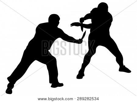 Man in sport fight with knives on white background