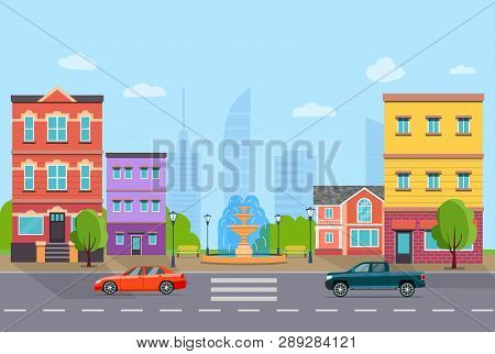 City Street Panoramic. City Life Set Buildings, Cars And Fountain . Vector Flat Style Illustration.