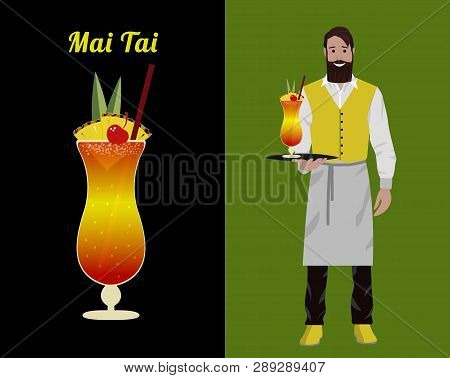 Fashionable Barman With A Beard And A Hipster Mustache In A Red Yolk And White Apron Isolated On A C