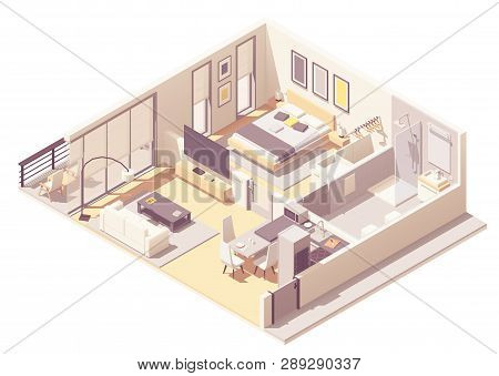 Vector Isometric Apartment Hotel Or Aparthotel Suite Interior Cross-section With Double Bed, Big Win