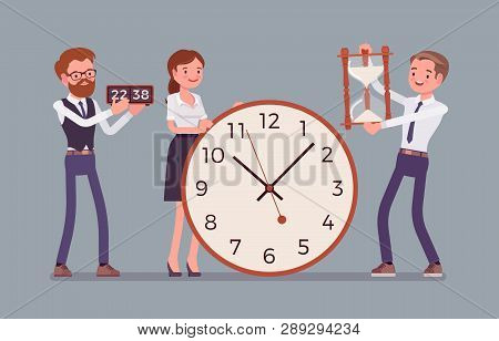 Time Management Giant Clocks And Business People. Manager Controls Employees Working Well, Do Tasks