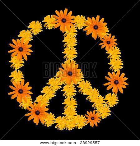 Peace symbol made from orange flower calendula poster