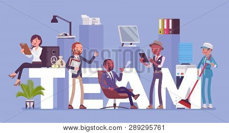 Team Giant Letters And Different People. Group Of Diverse Men Working Together To Achieve A Common G