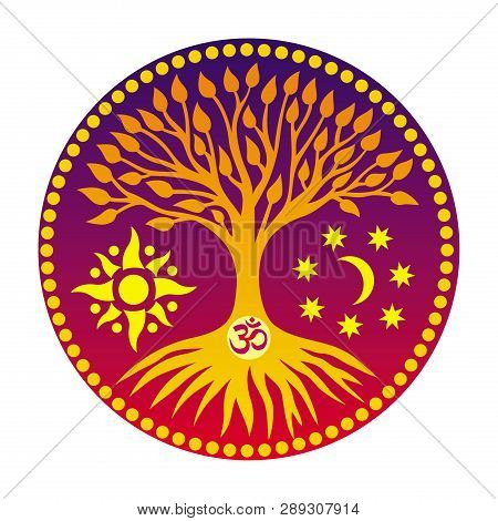 The Tree Of Life With The Sign Aum / Ohm / Om  In The Center Of The Mandala  Disk On The Background