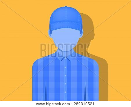 Young Man In A Cap, Emotionless, The Shadow Falls On An Orange Background