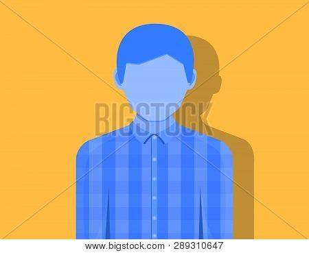 Young Man Without Emotion, The Shadow Falls On An Orange Background