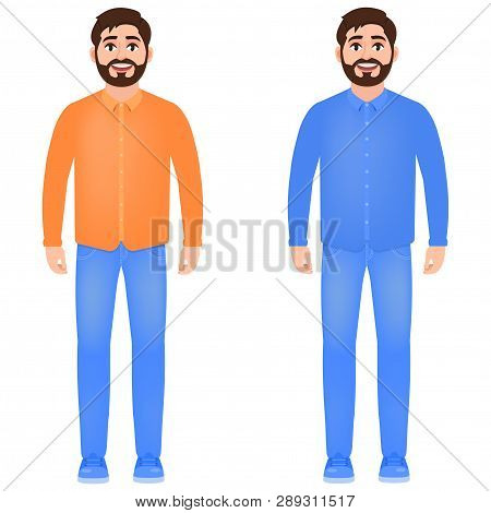 Bearded Man Dressed In Jeans, Shirt And Sneakers, Happy Man, Character In Cartoon Style