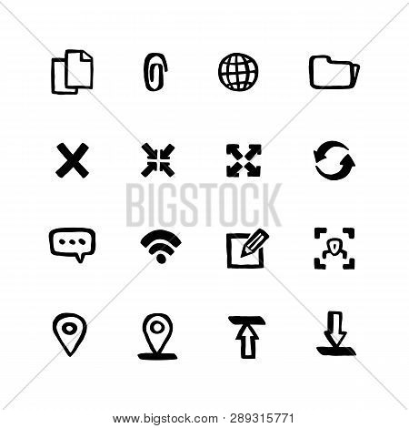 Naive Style Web Icon Set. Web And Mobile Ui Doodle Ink Style Set Of Icons. Vector Hand Drawn Naive S
