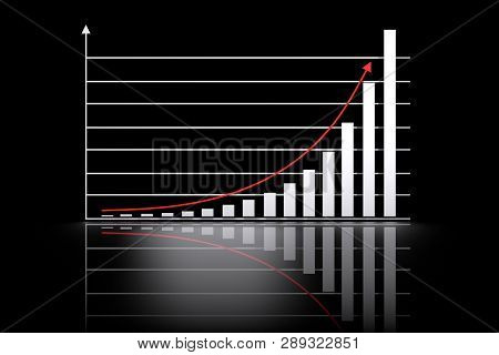 Illustration With Mathematical Exponential Growth Chart And Red Arrow Pointing Up On Dark Black Back