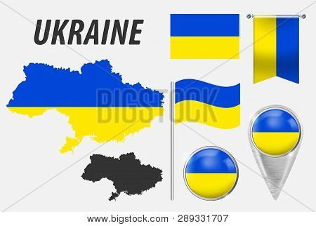 Ukraine. Collection Of Symbols In Colors National Flag On Various Objects Isolated On White Backgrou