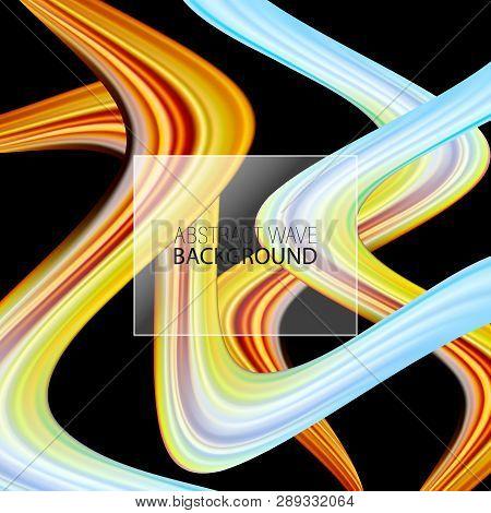 Modern Colorful Flow Poster. Wave Liquid Shape On Dark Color Background. Art Design For Your Project