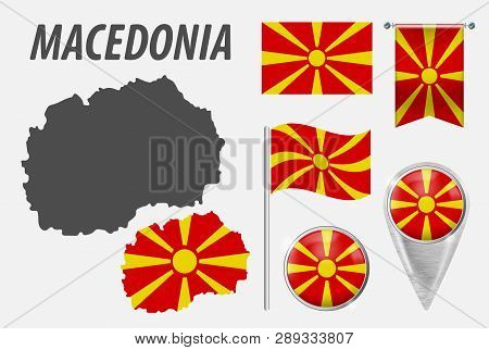 Macedonia. Collection Of Symbols In Colors National Flag On Various Objects Isolated On White Backgr
