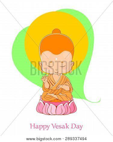 Meditating Little Buddha In Happy Vesak Day