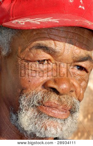 Wrinkled face of a mature African man