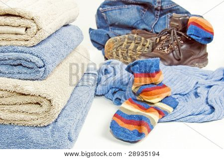 Clean towels and dirt laundry