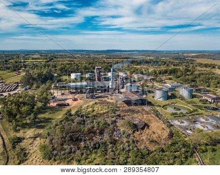 Aerial View Of A Sugar Cane Factory In Troche, Paraguay.