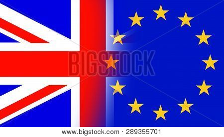 Flags Of The United Kingdom With Stars Of The European Union Flag. Uk Flag And Eu Flag Mixed Togethe