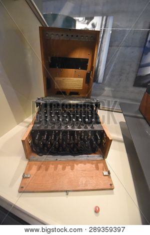 German Navy The Enigma Cipher Coding Machine From World War Ii From U505 On Display At The Museum Of