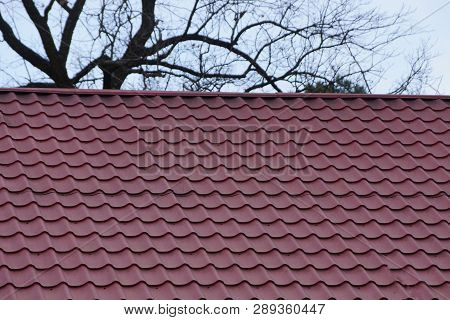 Roof Of A Building With Red Tiles On A Background Of Gray Sky And Tree Branches