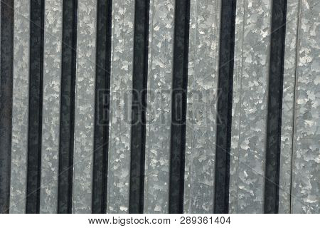 Gray Metal Texture Of Iron Striped Fence Wall