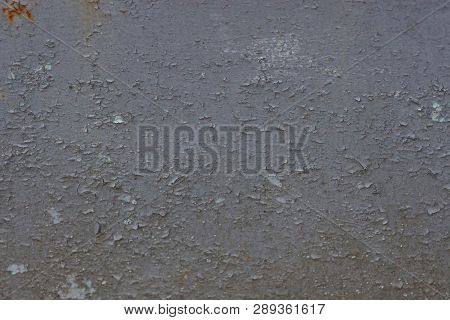 Gray Metal Texture Of Shabby Paint On The Wall