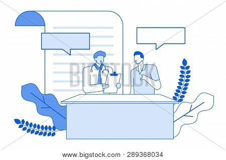 Modern Cartoon Flat Characters Geometric People Talking,thin Contour Style Medical Conversation Conc