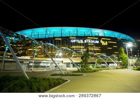 Perth, Australia - March 3, 2019: The Optus Stadium In Perth Opened In January 2018 With A Capacity