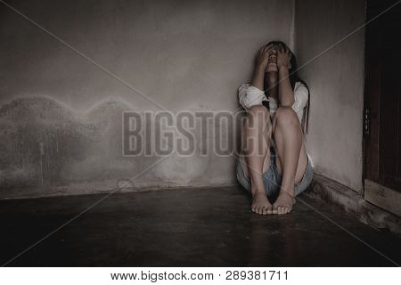 Woman Lying On The Floor Crying With Depression, Depressed Woman Sitting On Ground, Family Problems,