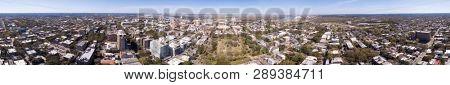 Aerial 360 degree seamless panorama of downtown Savannah, Georgia, USA.