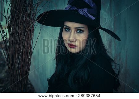 The Witch And Broomstick On Dark Background, Halloween Day Concept