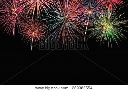 Colorful Firework On The Night Sky. New Year Celebration Fireworks. Abstract Firework Isolated On Bl