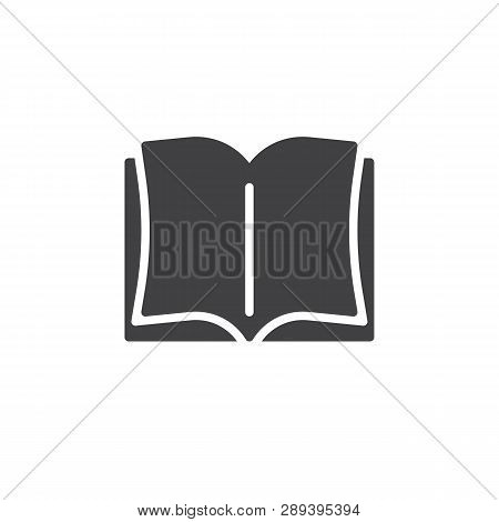 Open book pages vector icon. filled flat sign for mobile concept and web design. Encyclopedia book glyph icon. Education symbol, logo illustration. Pixel perfect vector graphics poster
