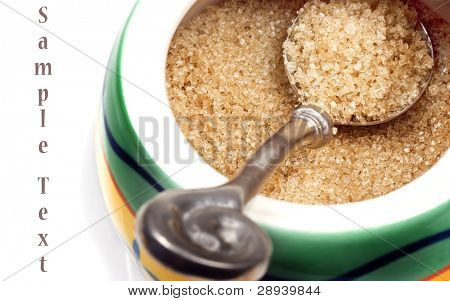 Close up of a bowl of natural brown sugar