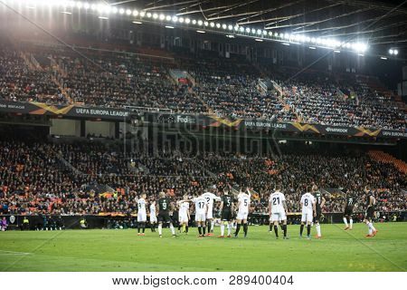 VALENCIA, SPAIN - MARCH 7: Players during UEFA Europa League match between Valencia CF and FC Krasnodar at Mestalla Stadium on March 7, 2019 in Valencia, Spain