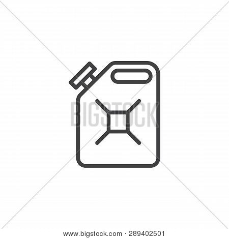 Gasoline Canister Line Icon. Linear Style Sign For Mobile Concept And Web Design. Jerrycan Outline V