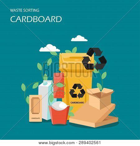 Waste Cardboard Sorting Vector Flat Style Design Illustration