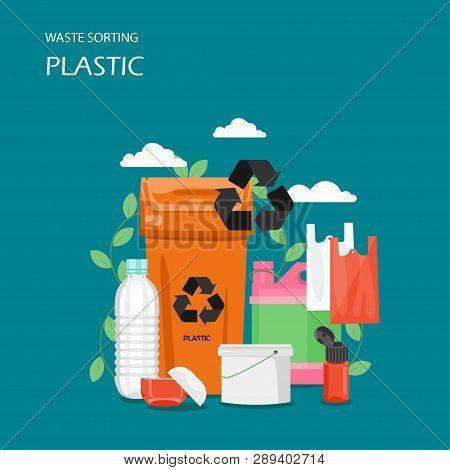 Waste Plastic Sorting Vector Flat Style Design Illustration