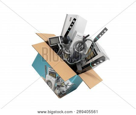 Concept Of Product Categories Large Household Appliances Crashes Out Of The Box 3d Render On White N