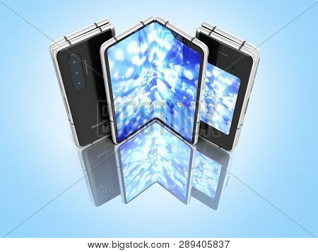 First Serial Flexible Phone With Color Screen 3d Render On Blue Background