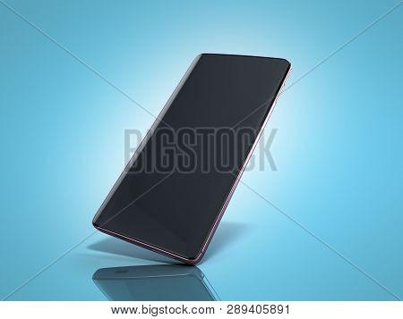 Modern Full Screen Smart Phone 3d Render On Blue