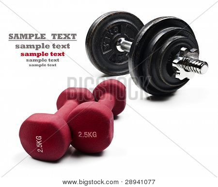Red and black exercising dumbbells on a pure white background with space for text
