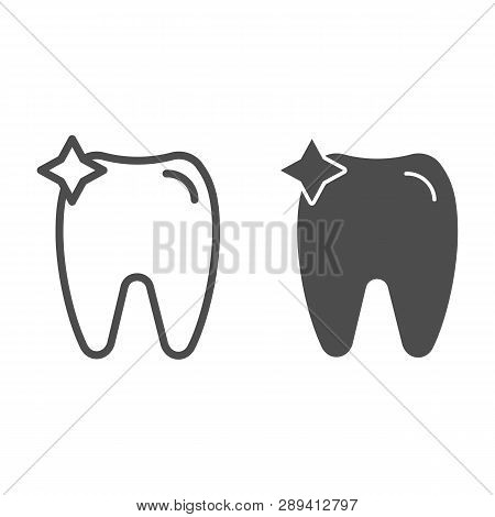 Tooth Line And Glyph Icon. Dent Vector Illustration Isolated On White. Dentistry Outline Style Desig