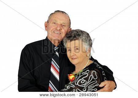 Elderly couple smartly dressed on a white background with space for text