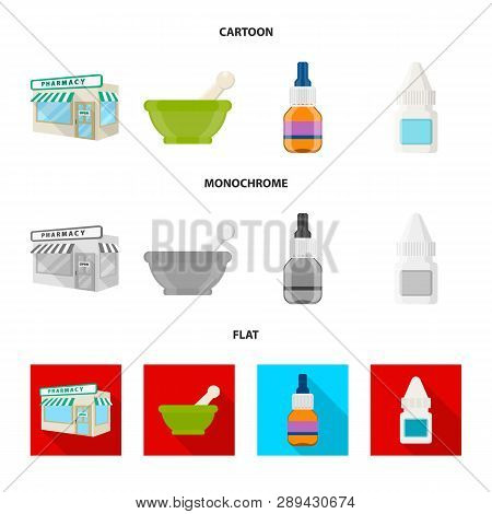 Vector Design Of Retail And Healthcare Sign. Set Of Retail And Wellness Vector Icon For Stock.
