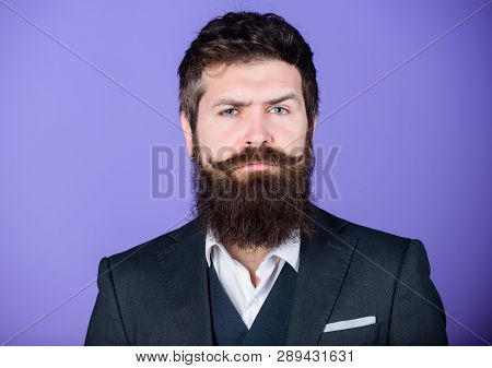 His Design Is Perfect. Bearded Man Event Manager. Brutal Caucasian Hipster With Moustache. Businessm