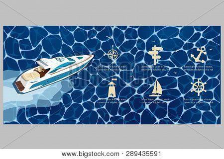 Top View Speed Boat On Water Poster. Luxury Yacht Race, Sea Regatta Poster Vector Illustration. Naut