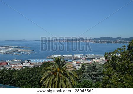 Views Of The Commercial Port From The Castro Mountain In Vigo. Nature, Architecture, History, Travel